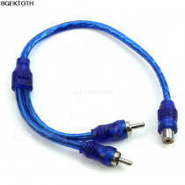 1 Female RCA 2 Male Adapter Cable Wire Splitter Stereo Audio Signal Connector