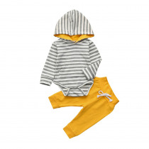 2pcs Toddler Newborn Baby Boy Girl Clothes Stripe Hoodie Bodysuit + Yellow Pants Outfits Set Long Sleeve Hooded Bodysuits Cool