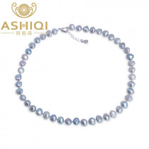 ASHIQI Real Natural Freshwater Baroque Pearl Necklace For Women 9-10mm Black Gray Pearl Jewelry