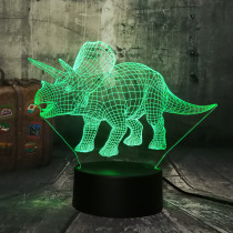 New Dinosaur Jurassic World Triceratops 3D LED Night Light Desk Sleep Lamp Creative Kids Toy Bedroom Home Decor Christmas Gift