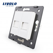 Manufacture Livolo,Socket Accessory,  The Base Of 2 Gangs Telephone Socket / Outlet VL-C7-2T-11, Without Plug adapter