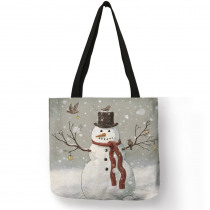 Winter New Design Sac Noel Women Totes Merry Christmas Cute Snowman Printed Eco Linen Fashion Practical Shoulder Bag for Girls