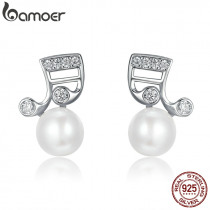 BAMOER Fashion 925 Sterling Silver Music Melody Notes Fresh Water Pearl Stud Earrings for Women Authentic Silver Jewelry SCE126
