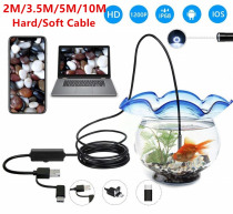 3 in 1 USB Endoscope Hard/Soft Cable 1200P Borescope Inspection Camera For Android Type-c PC Waterproof Snake Camera 2/3.5/5/10M