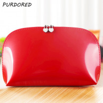 PURDORED 1 pc Women Shell Cosmetic Bag Patent Leather Zipper Make Up Bags Female Travel Cosmetic Case kosmetyczka Dropshipping