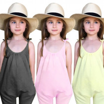 Kids Girls Jumpsuits Summer Baby Girl Clothes Solid Overalls Jumpsuit Bodysuits Soft Girls Fashion Outfit Clothes