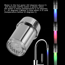 3 Color LED Light Change Faucet Filter Shower Water Tap Temperature Sensor Water Faucet Glow Shower Left Screw with Converter