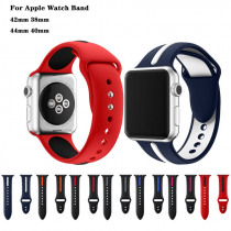 Sports Silicone Double Color Bracelet Strap For apple watch band 44/40/42/38mm men/women watches band for iwatch Series 4 3 2 1