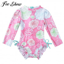 Newborn Baby Toddler Girls Floral Printed Swimwear One-piece Swimsuit Bathing Suit Beach Rash Guard Long Sleeve Swimming Clothes