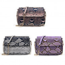 Women Serpentine Shoulder Crossbody Bag High Quality PU Leather Square Snake Flap Bags for Ladies Wedding Party Purse