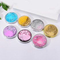 Vicney Fashion Colorful Bling Make Up Mirror Flowable Glitter Star Oil Makeup Mirror For Women Double Face Mini Pocket Mirror