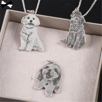 Pet Memorial Gift DIY Custom Personalized Pet/cat/dog Photo Necklace Pendants Stainless Steel Engrave Name Necklace urn 96