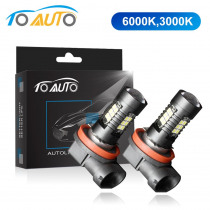 2Pcs H8 H11 Led HB4 9006 HB3 9005 Fog Lights Bulb 3030SMD 1200LM 6000K 3000K Car Driving Running Lamp Auto Led Light 12V