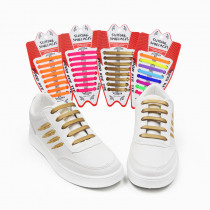 16Pcs/ Set No Tie Shoes Laces Lazy Elastic Silicone Waterproof Easy to Wear Shoelaces for Women and Man Shoe 12 Colors