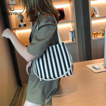 New Beach Tote Bag Fashion Women Canvas Summer Large Capacity Striped Shoulder Bag Tote Canvas Large Shopping Bucket Bag