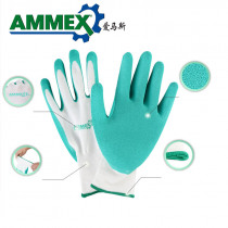 AMMEX Work Gloves For Latex Palm Coating 2 Pairs Protective Glove Anti Slip Breathable Back Mechanical Garden Safety Gloves