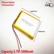 10pcs Liter energy battery Good Qulity 3.7V,5000mAH 905575 Polymer lithium ion / Li-ion battery for tablet pc BANK,GPS,mp3,mp4