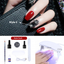 7pcs set  Gel Kits Finger Nail Extension LED Acrylic Builder Gel Nail Lamp  Nail Drill Machine for Manicure Set