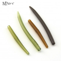 MNFT 20Pcs Fishing Anti Tangle Sleeves Carp Fishing Tackle Tool Soft Rubber Cone Sleeve Green Brown Color