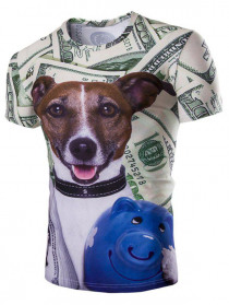 Casual Dog Printed Men's Short Sleeves T-Shirt