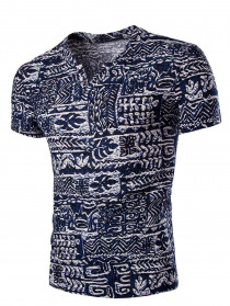 Men's Casual V Neck Abstract Printing Short Sleeves T-Shirt