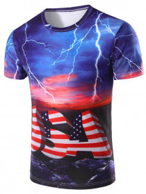 Men's 3D Stripe Printed Round Neck Short Sleeve T-Shirt