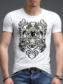 Casual Round Neck Eye Printing Slimming Men's Short Sleeves T-Shirt
