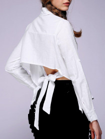 Women's Backless Solid Color Shirt