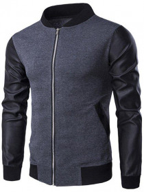 Stand Collar Zip-Up PU-Leather Splicing Jacket