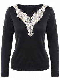 Long Sleeve Lace Panel Top
