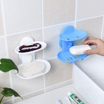 Bathroom Double Layer Strong Sucker Soap Box Dish Holder for Bathroom Shower