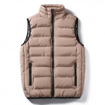 Mens Stand Collar Thick Warm Down Cotton Padded Casual Vest