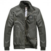 Mens Spring Casual Slim Fit Fashion Badge Pure Color Jacket