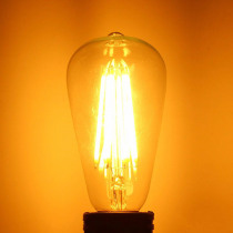 Dimmable ST64 E27 220V/110V 6W 600LM Warm White COB LED Filament Retro Edison Bulbs