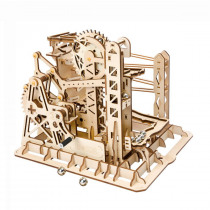 3D Self-Assembly Wooden Marble Run Lift Puzzle Magic Crush Handcrank Mechanical Model Building Education Gift