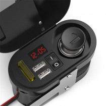12V-24V 3.1A Motorcycle Waterproof Charger With Clock Dual USB Car Voltmeter