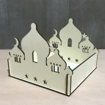 Self-Assembly Puzzle Wooden Building Model Kits DIY Islamic House Stand Rack Ramadan Gifts Decorations