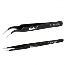 KAISI T-11 T-15 ESD Anti-magnetic Stainless Steel Straight Tweezer Anti Static ESD Safe Precision Fine Tip