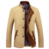 Mens Casual Business Slim Fit Zipper Single-breasted Stand Collar Personality Fashion Jacket
