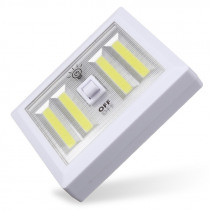 Battery Powered 4 COB LED Night Light Wall Switch Self Stick Closet 6000K White Bright