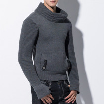 Mens Fashion High Collar Thick Warm Casual Sweaters
