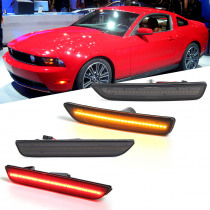Front/Rear LED Side Marker Lights Turn Signals Lamps Smoked Pair for Ford Mustang 2010-2014