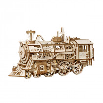 3D Assembly Wooden Puzzle Locomotive Movement Train Kit Mechanical Gears Brain Teaser Model Building Gift