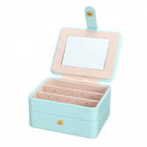 11x9x5.5cm 3 Layers Ornaments Jewelry Storage Case Collecting Box with Built-in Mirror Make Up Case