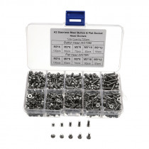 720pcs Stainless Steel M3 Button Flat Socket Head Screws Set Hex Socket Cap Screw Bolt