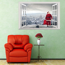 Christmas New Wall Stickers Santa Claus Giving Gifts 3D Stickers Living Room Bedroom Decoration Wallpaper
