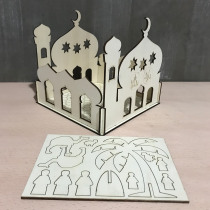 Self-Assembly Puzzle Wooden Model Building Kits Islamic House Stand Rack Ramadan Gifts Decorations