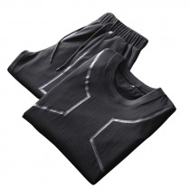 Men Sports Two Pieces Fitness Leisure Soft Slim Fit Quick-drying Short T-shirt Pants Hiking Suit