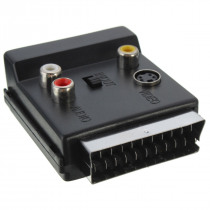 Switchable Scart Male to Scart Female S-Video 3 RCA Audio Adapter Converter Connector