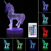 3D LED Night Light USB Horse Animal 7 Color Change Table Desk Lamp Lighting Gift